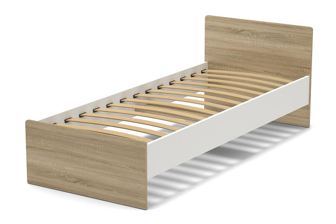 Кровать 800 мм дуб сонома  белый