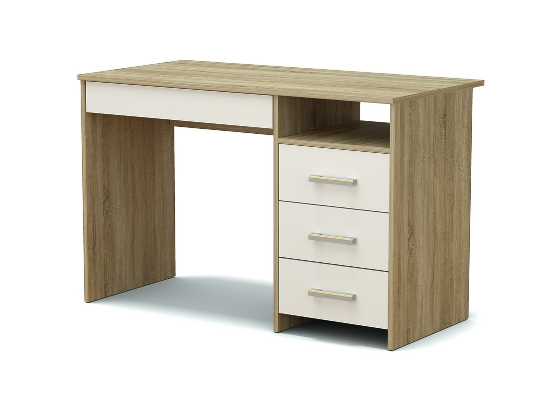 стол письменный дуб сонома и белый 4 ящика