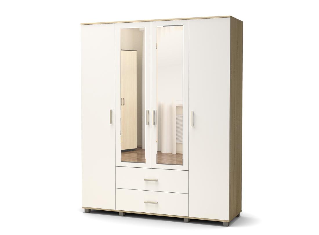 шкаф 4 створчатый белый - дуб сонома