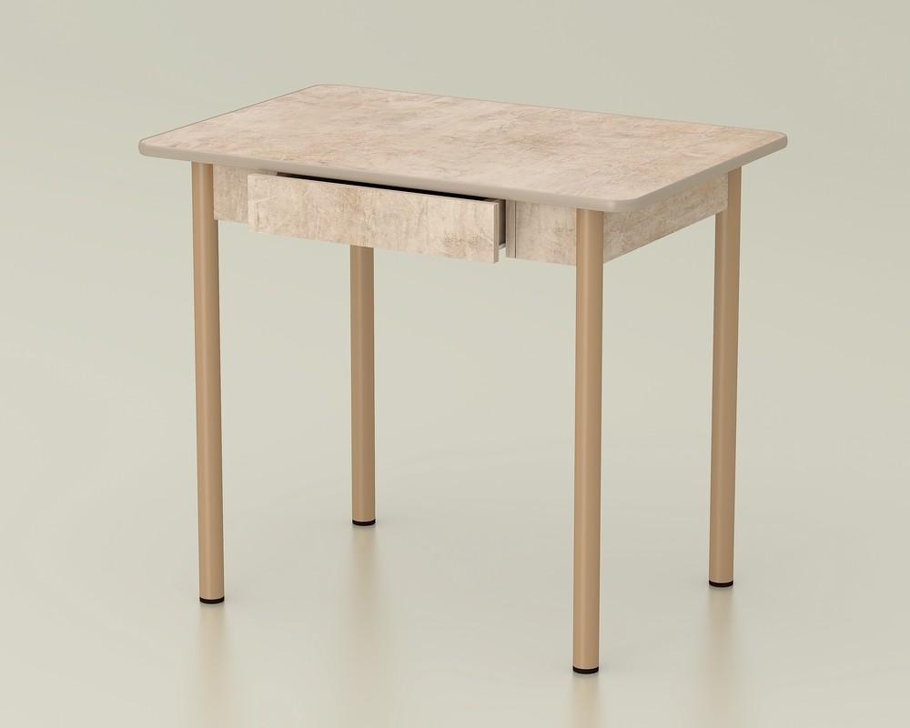 стол обеденный с ящиком светлый камень